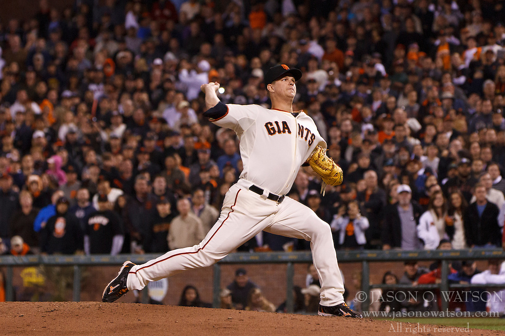 SAN FRANCISCO, CA - JUNE 13: Matt Cain #18 of the San Francisco Giants pitches against the Houston Astros during the eighth inning at AT&T Park on June 13, 2012 in San Francisco, California. The San Francisco Giants defeated the Houston Astros 10-0. (Photo by Jason O. Watson/Getty Images) *** Local Caption *** Matt Cain