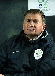 Slovenian coach Matjaz Kek during the UEFA Friendly match between national teams of Slovenia and Denmark at the Stadium on February 6, 2008 in Nova Gorica, Slovenia. Slovenia lost 2:1. (Photo by Vid Ponikvar / Sportal Images).