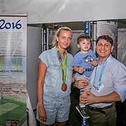 August 23, 2016, New Haven, Connecticut: <br /> Petra Kvitova of the Czech Republic visits the Rio 2016 display during Day 5 of the 2016 Connecticut Open at the Yale University Tennis Center on Tuesday, August  23, 2016 in New Haven, Connecticut. <br /> (Photo by Billie Weiss/Connecticut Open)