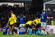 Last minute Watford (9) Troy Deeney (captain), Watford (5) Sebastian Prödl, Watford (25) José Holebas, Everton (4) Michael Keane, Watford (30) GK	Orestis Karnezis, Everton (7) Yannick Bolasie during the Premier League match between Watford and Everton at Vicarage Road, Watford, England on 24 February 2018. Picture by Sebastian Frej.
