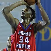 Grand Rapids Drive Center Hasheem Thabeet (34) shoots free throw in the second half of a NBA D-league regular season basketball game between the Delaware 87ers and the Grand Rapids Drive (Detroit Pistons) Friday, Jan. 09, 2015 at The Bob Carpenter Sports Convocation Center in Newark, DEL