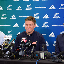 Beauden Barrett announces his resigning with the All Blacks, Hurricanes and Taranaki RFU, as NZ Rugby chief executive Steve tew (left) and Hurricanes chief executive Avan Lee (right) look on, at the New Zealand Rugby Union Head Office, Wellington, New Zealand on Monday, 29 August 2016. Photo: Dave Lintott / lintottphoto.co.nz