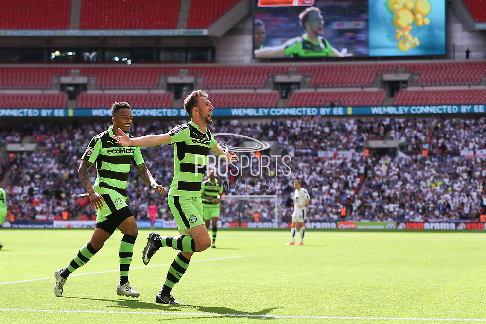 Forest Green Rovers Christian Doidge(9) scores a goal 2-0 and celebrates during the Vanarama National League Play Off Final match between Tranmere Rovers and Forest Green Rovers at Wembley Stadium, London, England on 14 May 2017. Photo by Shane Healey.