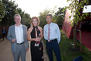 HANS ULRICK OBRIST,; JULIA PEYTON-JONES; BEN BRADSHAW, The Summer Party. Serpentine Gallery. 8 July 2010. -DO NOT ARCHIVE-© Copyright Photograph by Dafydd Jones. 248 Clapham Rd. London SW9 0PZ. Tel 0207 820 0771. www.dafjones.com.