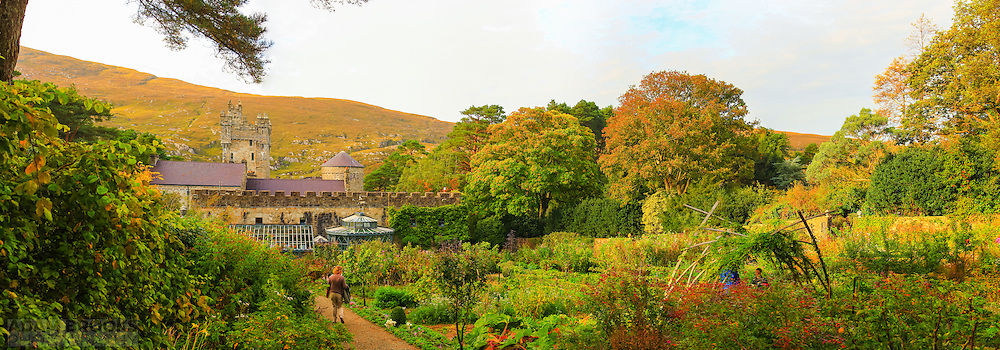 View overlooking the Glenveagh Castle gardens in Glenveagh National Park.