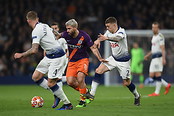 09.04.2019, White Hart Lane, London, ENG, UEFA CL, Tottenham Hotspur vs Manchester City, Viertelfinale, Hinspiel, im Bild Sergio Agüero of Manchester City takes on Kieran Trippier and Toby Alderweireld of Tottenham Hotspur // Sergio Agüero of Manchester City takes on Kieran Trippier and Toby Alderweireld of Tottenham Hotspur during the UEFA Champions League quarterfinals, 1st leg match between Tottenham Hotspur and Manchester City at the White Hart Lane in London, England on 2019/04/09. EXPA Pictures © 2019, PhotoCredit: EXPA/ Focus Images/ Martyn Haworth<br /> <br /> *****ATTENTION - for AUT, GER, FRA, ITA, SUI, POL, CRO, SLO only*****