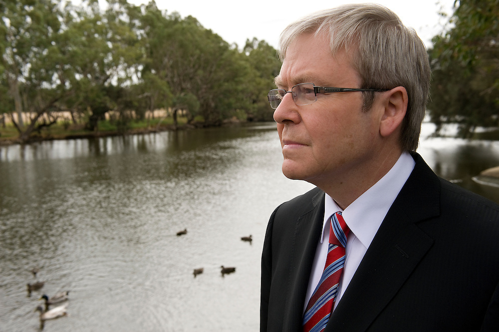 Australian Prime Minister Kevin Rudd visits the site of the Swan Riverside Regional Park in Midland, Western Australia