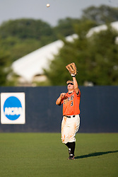 Oregon State Beavers OF Braden Wells (9) catches a fly in the outfield.  The Oregon State Beavers defeated the Virginia Cavaliers 5-3 in Game 6 of the NCAA World Series Charlottesville Regional held at Davenport Field in Charlottesville, VA on June 4, 2007.