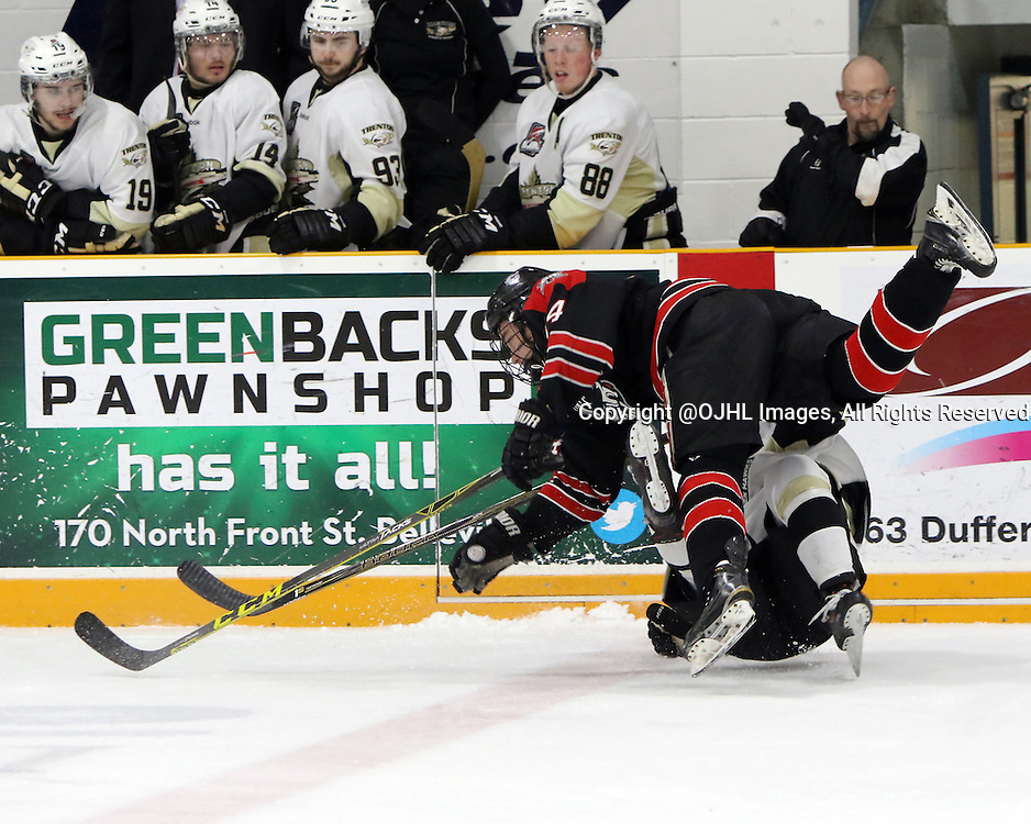 TRENTON, ON - Apr 22, 2016 -  Ontario Junior Hockey League game action between Trenton Golden Hawks and the Georgetown Raiders. Game 5 of the Buckland Cup Championship Series, at the Duncan Memorial Gardens in Trenton, Ontario. Zack Dybowski #14 of the Georgetown Raiders makes the hit on Lucas Brown #28 of the Trenton Golden Hawks during the first period<br /> (Photo by Ed McPherson / OJHL Images)