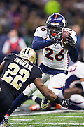 NEW ORLEANS, LA - NOVEMBER 13:  Darlan Stewart #26 of the Denver Broncos returns a interception during a game against the New Orleans Saints at Mercedes-Benz Superdome on November 13, 2016 in New Orleans, Louisiana.  The Broncos defeated the Saints 25-23.  (Photo by Wesley Hitt/Getty Images) *** Local Caption *** Darlan Stewart