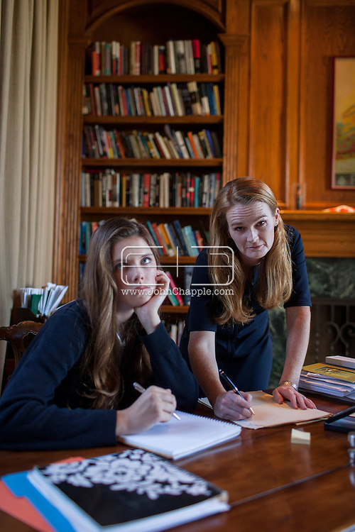 August 22, 2013. Rancho Sante Fe, California. In the new book 'Early Decision', debut novelist Lacy Crawford draws on 15 years of experience traveling the world as a highly sought-after private college counselor to illuminate the madness of college admissions. Lacy is pictured with model, Isabelle Sandmeyer. <br /> Photo Copyright John Chapple / www.JohnChapple.com