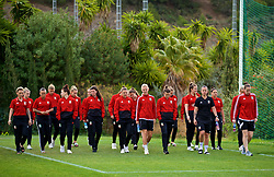 ALHAURÍN EL GRANDE, SPAIN - TUESDAY, MARCH 5, 2019: Wales players during a pre-match team walk at the at Alhaurin Golf Resort in Spain. (Pic by David Rawcliffe/Propaganda)