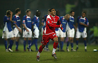 Photo: Paul Thomas.<br /> Chesterfield Town v Charlton Athletic. Carling Cup. 07/11/2006.<br /> <br /> Jerome Thomas of Charlton clebrates as Chesterfield look away.