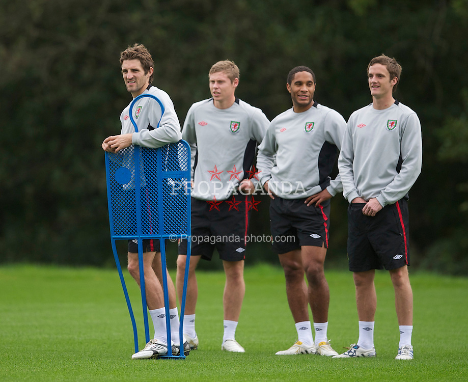 CARDIFF, WALES - Tuesday, October 5, 2010: Wales' Sam Ricketts with Simon Church, Ashley Williams and Andy King during a training session at the Vale of Glamorgan ahead of the Euro 2012 qualifying Group G match against Bulgaria. (Pic by David Rawcliffe/Propaganda)
