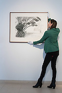 A gallery assistant straightens David Hockney's &quot;Kilham to Rudston&quot;, charcoal on paper from 2008 at the preview for the It&rsquo;s Our World charity auction at Christie's, Mayfair, London.<br /> Picture by Paul Davey/Focus Images Ltd +447966 016296<br /> 04/03/2016