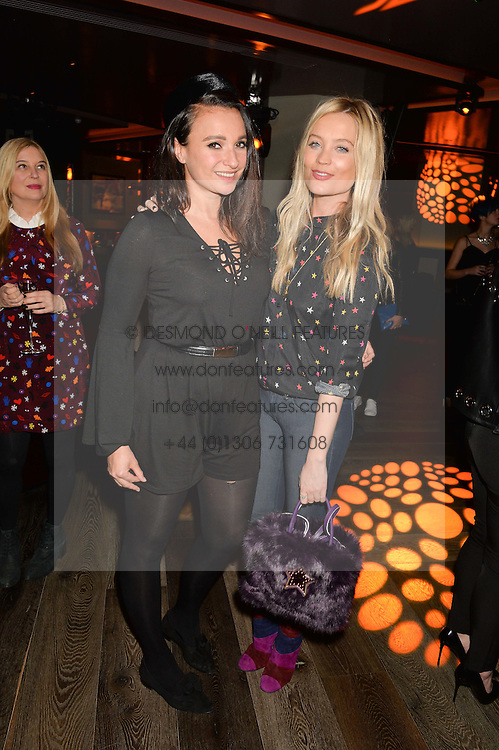 Left to right, GIZZI ERSKINE and LAURA WHITMORE at a party to celebrate the opening of 100 Wardour Street, Soho, London on 28th January 2016.