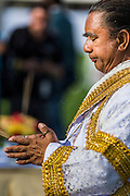 "28 AUGUST 2014 - BANGKOK, THAILAND:     A Brahmin priest leads a blessing ceremony before the King's Cup Elephant Polo Tournament at VR Sports Club in Samut Prakan on the outskirts of Bangkok, Thailand. The tournament's primary sponsor in Anantara Resorts. This is the 13th year for the King's Cup Elephant Polo Tournament. The sport of elephant polo started in Nepal in 1982. Proceeds from the King's Cup tournament goes to help rehabilitate elephants rescued from abuse. Each team has three players and three elephants. Matches take place on a pitch (field) 80 meters by 48 meters using standard polo balls. The game is divided into two 7 minute ""chukkas"" or halves.   PHOTO BY JACK KURTZ"