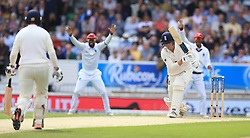 England's Tom Westley is trapped LBW by West Indies Kemar Roach during the second Investec Test match at Headingley, Leeds.
