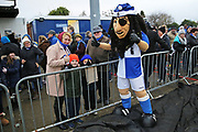 Bristol Rovers mascot with some fans during the EFL Sky Bet League 1 match between Bristol Rovers and Doncaster Rovers at the Memorial Stadium, Bristol, England on 23 December 2017. Photo by Gary Learmonth.