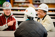 The Rev. Eddie Mekasha, chaplain at Tyson Foods, chats with workers during break on Wednesday, June 7, 2017, in Council Bluffs, Iowa. LCMS Communications/Erik M. Lunsford