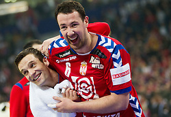 Dobrivoje Markovic of Serbia and Marko Vujin of Serbia celebrate after the handball match between Serbia and Croatia in 2nd Semifinal at 10th EHF European Handball Championship Serbia 2012, on January 27, 2012 in Beogradska Arena, Belgrade, Serbia. Serbia defeated Croatia 26-22. (Photo By Vid Ponikvar / Sportida.com)
