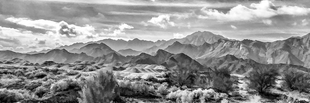 Black and white photographic art panorama of San Felipe mountains, Baja California, Mexico