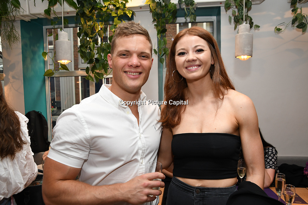 Harry Ranson ,Emily Ricketts attend the Oppo party to launch its new Madagascan Vanilla, Sicilian Lemon and Raspberry Cheesecakes, served with Skinny Prosecco at Farm Girls Café, 1 Carnaby Street, Soho, London, UK on July 18 2018.