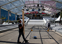 Preperations underway in front of the Théâtre Lumière, Palais des festivals, ahead of the 70th Cannes Film Festival starting 17th May. Cannes, France, Tuesday 16th May 2017