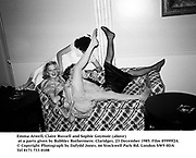 Emma Atwell, Claire Russell and Sophie Goymoir above at a party given by Bubbles Rothermere. Claridges. 23 December 1985. Film 85999f24.<br />© Copyright Photograph by Dafydd Jones<br />66 Stockwell Park Rd. London SW9 0DA<br />Tel 0171 733 0108