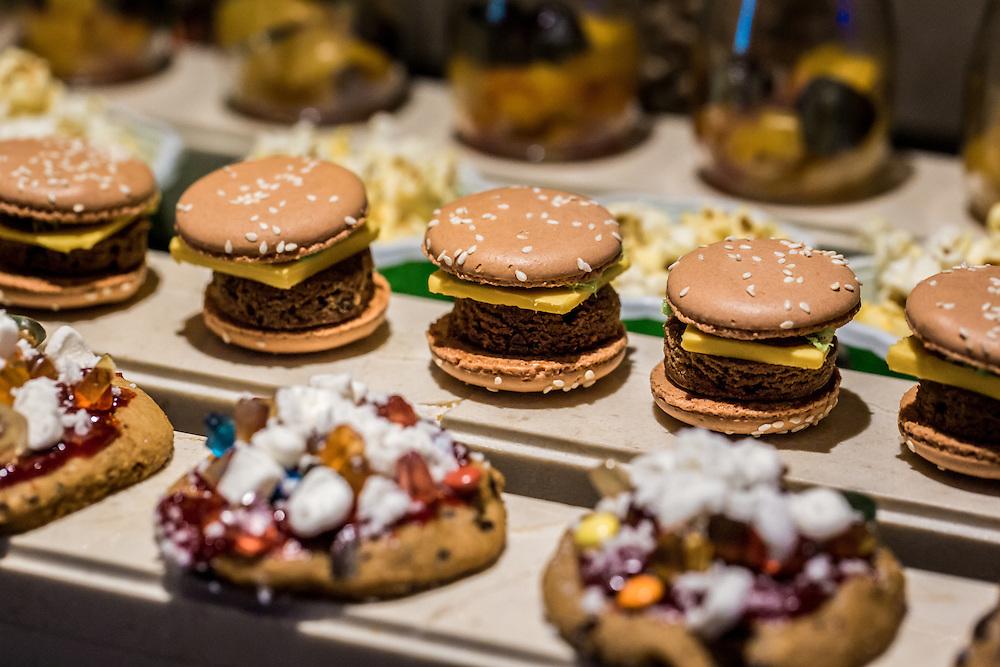 DUBAI, UAE - DECEMBER 18, 2015: Burger-like macaroons are part of the desert buffet at the Arboretum restaurant, located in Jumeirah Al Qasr, Madinat Jumeirah Resort.
