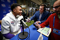 Grant Delpit #7 of the LSU Tigers speaks with the media at Media Day on Thursday, Dec. 26, in Atlanta. LSU will face Oklahoma in the 2019 College Football Playoff Semifinal at the Chick-fil-A Peach Bowl. (Jason Parkhurst via Abell Images for the Chick-fil-A Peach Bowl)