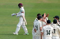 Dejection for Somerset's Johann Myburgh after being dismissed. - Photo mandatory by-line: Harry Trump/JMP - Mobile: 07966 386802 - 16/06/15 - SPORT - CRICKET - LVCC County Championship - Division One - Day Three - Somerset v Nottinghamshire - The County Ground, Taunton, England.