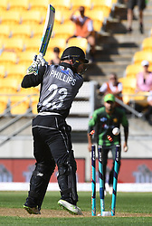 New Zealand's Glenn Phillips is bowled for 3 by Pakistan's Rumman Raees in the first T20 International Cricket match, Westpac Stadium, Wellington, New Zealand, Monday, January 22, 2018