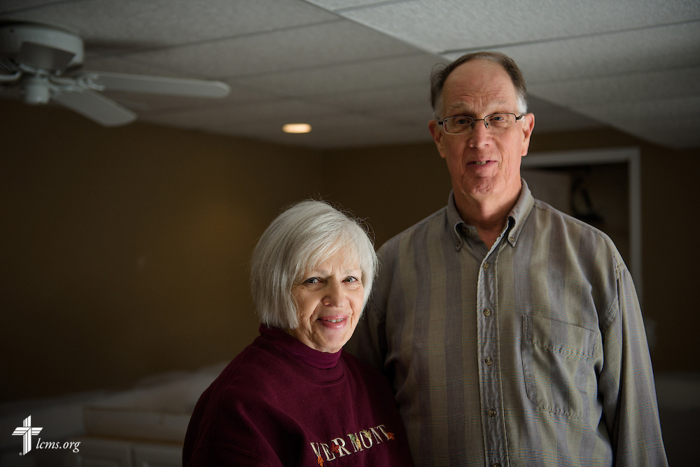 A portrait of retired church workers Annette and John Frank in their flood-damaged basement in Fenton, Mo., on Thursday, Jan. 14, 2016. LCMS Communications/Erik M. Lunsford