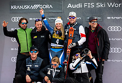 Winner ROBINSON Alice of New Zealand and her team celebrate at Trophy ceremony after the 2nd Run during the Ladies' GiantSlalom at 56th Golden Fox event at Audi FIS Ski World Cup 2019/20, on February 15, 2020 in Podkoren, Kranjska Gora, Slovenia. Photo by Matic Ritonja / Sportida
