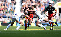 Exeter Chiefs replacement Jack Yeandle and Exeter Chiefs outside centre Henry Slade tackle Saracens replacement Charlie Hodgson  - Mandatory by-line: Joe Meredith/JMP - 28/05/2016 - RUGBY - Twickenham - London, England - Saracens v Exeter Chiefs - Aviva Premiership Final