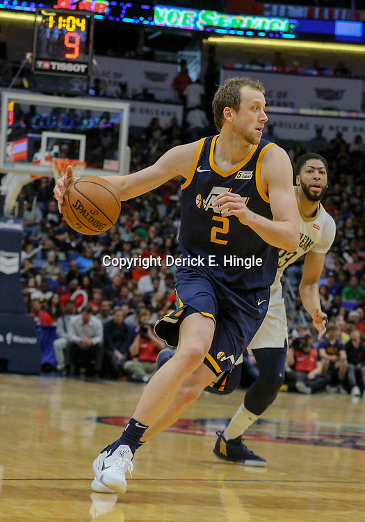 Mar 11, 2018; New Orleans, LA, USA; Utah Jazz forward Joe Ingles (2) against the New Orleans Pelicans during the second half at the Smoothie King Center. Mandatory Credit: Derick E. Hingle-USA TODAY Sports