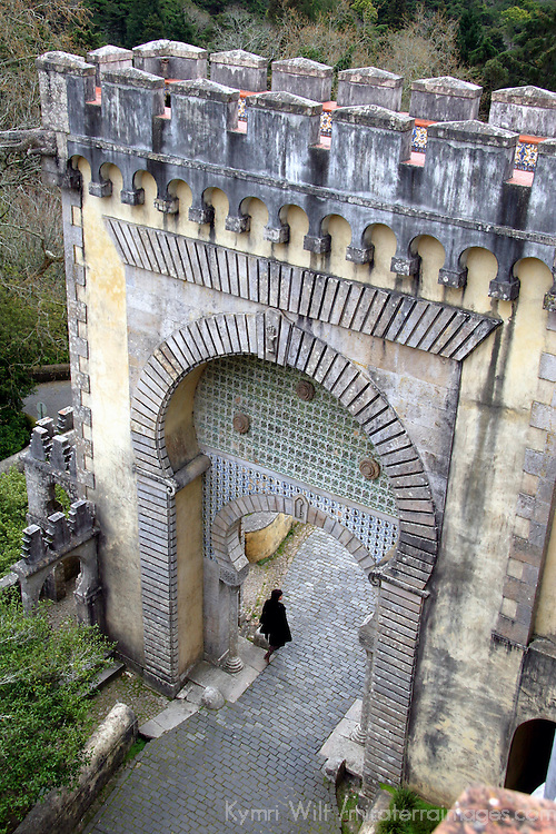 Europe, Portugal, Sintra. Islamic gate at Pena National Palace, a UNESCO World Heritage Site.