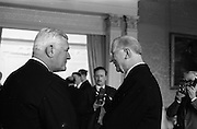 28/04/1965<br /> 04/28/1965<br /> 28 April 1965<br /> New American Ambassador presents Credentials. Picture shows His Excellency Raymond Richard Guest , (left) American Ambassador, chatting with President Eamon de Valera after the presentation at Aras an Uachtarain.
