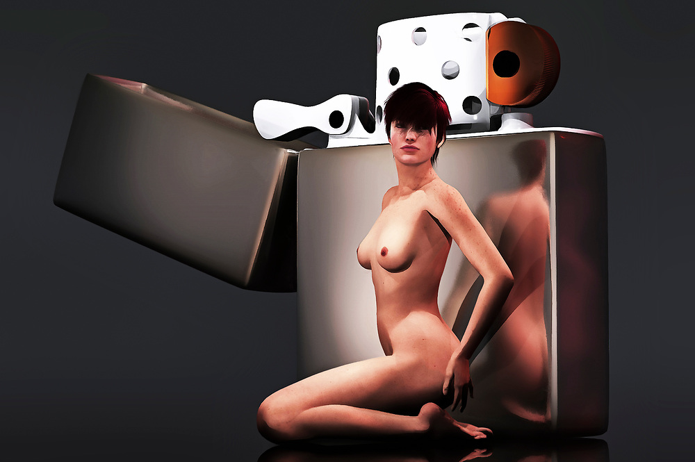 From the moment we set our sights upon this acryl on canvas piece, we are struck by the contrast of the two decidedly differing images that dominate the scene. We have a giant Zippo lighter, displayed in the iconic, simple silver design that is still found in stores to this day. Near the Zippo lighter, we have a nude woman. She stands defiantly. She stares intently. We don't know what she's saying, but we understand that she isn't someone who is going to be pushed around. It helps to have that much fire on hand. Available as wall art, t-shirts, or as interior home décor products. .<br />