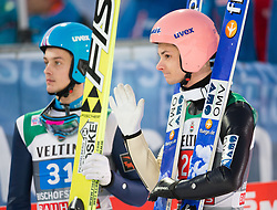 06.01.2015, Paul Ausserleitner Schanze, Bischofshofen, AUT, FIS Ski Sprung Weltcup, 63. Vierschanzentournee, Finale, im Bild Vladislav Boyarintsev (RUS), Manuel Fettner (AUT) // Vladislav Boyarintsev of Russia and Manuel Fettner of Austria reacts after his first Final Jump of 63rd Four Hills Tournament of FIS Ski Jumping World Cup at the Paul Ausserleitner Schanze, Bischofshofen, Austria on 2015/01/06. EXPA Pictures © 2015, PhotoCredit: EXPA/ Johann Groder