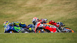 October 23, 2016 - Melbourne, Victoria, Australia - Italian rider Valentino Rossi (#46) of Movistar Yamaha MotoGP passes American rider Nicky Hayden (#69) of Repsol Honda Team on the inside of turn 10 during the MotoGP category race at the 2016 Australian MotoGP held at Phillip Island, Australia. (Credit Image: © Theo Karanikos via ZUMA Wire)