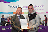 Aaron Kendryna who received a FETAC level 4 Certificate in Horticulture Science  Safe Horticulture practice from Minister of State for Training & Skills at the department of Education and Science Ciaran Cannon TD at the National Learning Network, Galway Certification Ceremony at the Menlo Park Hotel. Photo:Andrew Downes.