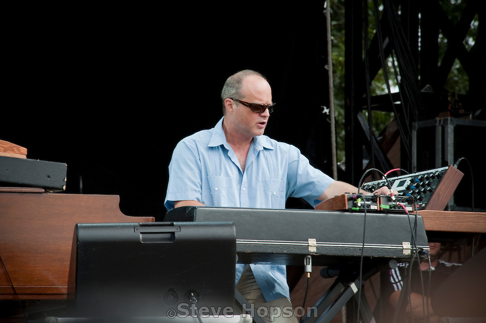 Medeski, Martin & Wood performing at the Austin City Limits Music Festival 2009, Austin Texas, October 2, 2009.   Medeski Martin & Wood (or MMW) is an American jazz trio formed in 1991, consisting of John Medeski on keyboards and piano, Billy Martin on drums and percussion, and Chris Wood on double bass and bass guitar.  The Austin City Limits Music Festival is an annual three-day music festival in Austin, Texas's Zilker Park.
