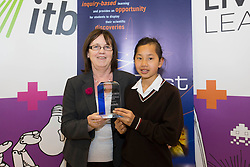 Sheila Porter, CEO Scifest is pictured presenting the Newstalk Best Communicator Award to Kim Ryan from Alexandra College for her project 'How Music Affects Our Cognitive Ability'at SciFest@ITB 2014. Post-primary school students from schools all over Dublin took  science to the next level with over 120 projects at SciFest@ITB 2014 in Institute of Technology Blanchardstown (ITB). The SciFest@ITB programme saw over 260 students from schools all over the region exhibit more than 120 projects at ITB and put their knowledge of science to the test! Picture Andres Poveda
