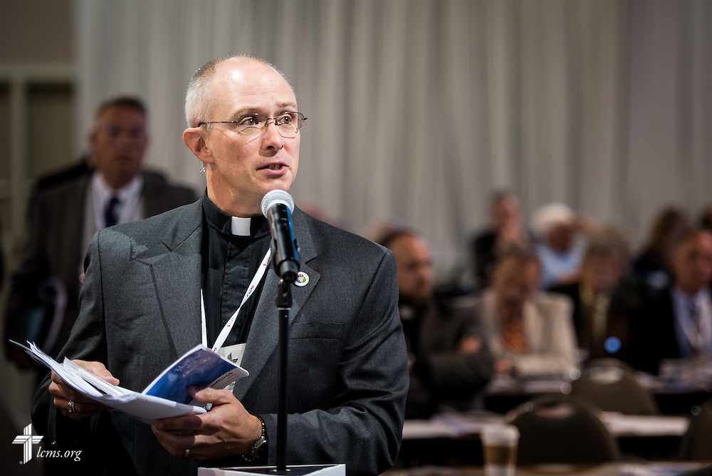 The Rev. Dr. John Wollenburg Sias, newly elected secretary of the Synod, speaks at the 66th Regular Convention of The Lutheran Church—Missouri Synod on Monday, July 11, at the Wisconsin Center in Milwaukee. LCMS /Michael Schuermann