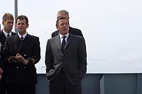 09 AUG 2001, BERLIN/GERMANY:<br /> Gerhard Schroeder, SPD, Bundeskanzler, waehrend einem Besuch von Marineeinheiten im Seegebiet vor Rostock<br /> IMAGE: 20010809-01-025<br /> KEYWORDS: Bundeswehr, Bundesmarine, Marine, Gerhard Schröder