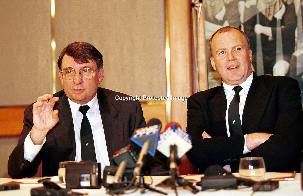 David Moffett and Kevin Robert from the New Zealand Rugby Union speak to press. 1997 Photo: PHOTOSPORT