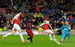 Lionel Messi of Barcelona scores his sides third goal  - Mandatory byline: Matt McNulty/JMP - 16/03/2016 - FOOTBALL - Nou Camp - Barcelona,  - FC Barcelona v Arsenal - Champions League - Round of 16