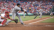 Brewers' Aramis Ramirez  broken bat RBI single with bases loaded that tied the game a 3 off Phillies pitcher Cole Hamels during the 3rd inning at Citizens Bank Park in Philadelphia.
